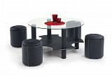 Комплект HALMAR BELINDA (стол журнальный+ 4 пуфа) черный, 95/51 - Апис плюс