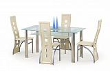 Стол обеденный HALMAR CRISTAL бесцветномолочный, 150/90/77 - Апис плюс