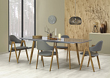 Стол обеденный HALMAR RUTEN раскладной, серыйдуб медовый, 160-200/90/76 - Апис плюс