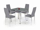 Стол обеденный HALMAR KENT раскладной, серыйхром, 80-130/80/76 - Апис плюс