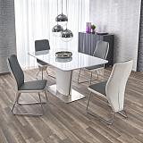 Стол обеденный HALMAR PLATON раскладной, белый, 160-200/90/76 NEW - Апис плюс