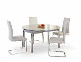 Стол обеденный HALMAR NESTOR раскладной, стеклосерый, 130/80-130/75 - Апис плюс