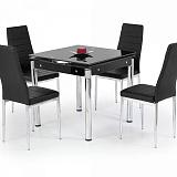 Стол обеденный HALMAR KENT раскладной, черныйсталь,  80-130/80/76 - Апис плюс