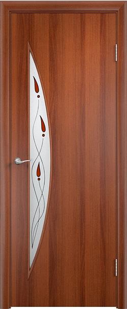 Межкомнатная дверь  С6 ДО витраж 800*2000 Итальянский орех серия Ламинированные из МДФ    - Апис плюс