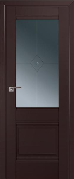 Межкомнатная дверь  2U графит узор с проз.фьюзингом 800*2000 Темно-коричневый матовый серия ProfilDoors серия U Классика из экошпона   - Апис плюс