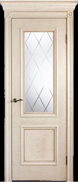 Межкомнатная дверь  Валенсия ш. ДО матовое с фр.№15 800*2000 Эмаль ваниль серия Премиум из шпона    - Апис плюс