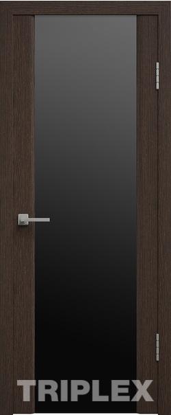 Межкомнатная дверь  Триплекс 2 черный 800*2000 Венге серия Триплекс из экошпона   - Апис плюс