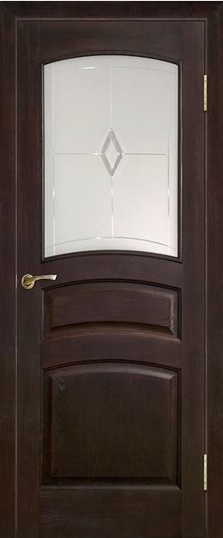 Межкомнатная дверь  Модель №16 ДО 800*2000 Темный лак серия Массив сосны    - Апис плюс