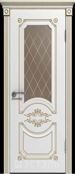 Межкомнатная дверь  Милана эст. ДО матовое бронза 800*2000 Белая эмаль патина золото   - Апис плюс