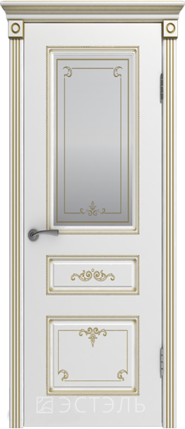 Межкомнатная дверь  Вивьен ДО матовое 800*2000 Белая эмаль патина золото   - Апис плюс