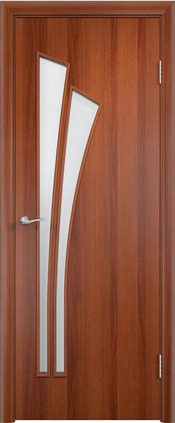 Межкомнатная дверь  С7 ДО витраж 800*2000 Итальянский орех серия Ламинированные из МДФ    - Апис плюс