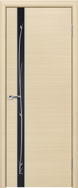 Межкомнатная дверь  ПО Маэстро черн. рис. 800 Беленый дуб  серия Пефектлайн из МДФ    - Апис плюс