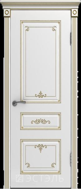 Межкомнатная дверь  Вивьен ДГ 800*2000 Белая эмаль патина золото   - Апис плюс