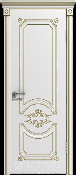 Межкомнатная дверь  Милана эст. ДГ 800*2000 Белая эмаль патина золото   - Апис плюс