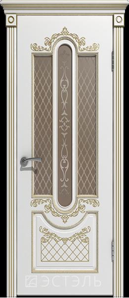 Межкомнатная дверь  Александрия ДО матовое бронза 800*2000 Белая эмаль патина золото   - Апис плюс