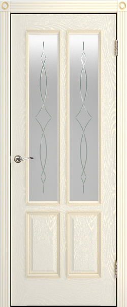 Межкомнатная дверь  ДО Плимут-2 800  Эмаль крем серия Премиум из шпона    - Апис плюс
