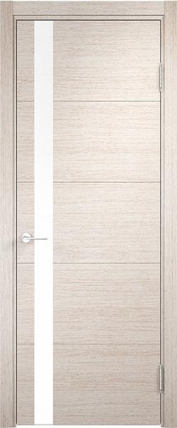 Межкомнатная дверь  Турин (03) белый лак 800*2000 Дуб бежевый вералинга серия Турин из экошпона   - Апис плюс