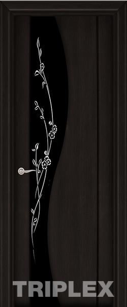 Межкомнатная дверь  Триплекс 3 черный с рисунком 800*2000 Черный шелк серия Триплекс из экошпона   - Апис плюс