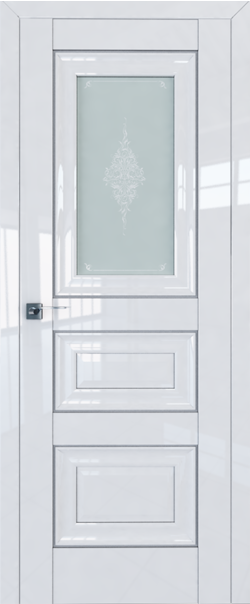 Межкомнатная дверь  26L матовое кристалл 800*2000 Белый люкс серебро серия ProfilDoors серия L глянец    - Апис плюс