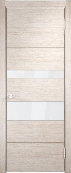 Межкомнатная дверь  Турин (04) белый лак 800*2000 Дуб бежевый вералинга серия Турин из экошпона   - Апис плюс