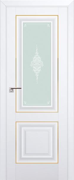 Межкомнатная дверь  28U кристалл матовое 800*2000 Аляска золото  серия U Классика из экошпона   - Апис плюс