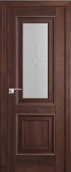 Межкомнатная дверь  28Х матовое узор 800*2000 Орех сиена серебро серия ProfilDoors серия X Классика из экошпона   - Апис плюс