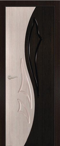 Межкомнатная дверь  ДГ Лилия 4 Беленый дуб/Мореный дуб 800 серия Стандарт из шпона    - Апис плюс