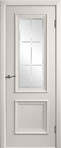 Межкомнатная дверь  Валенсия-4 ДО матовое с фр №23 800*2000 Слоновая кость серия Премиум из шпона    - Апис плюс