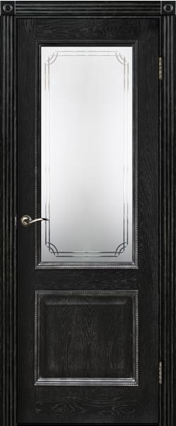 Межкомнатная дверь  ДО Шервуд-3 600 №8 Эмаль черная РАСПРОДАЖА серия Премиум из шпона    - Апис плюс
