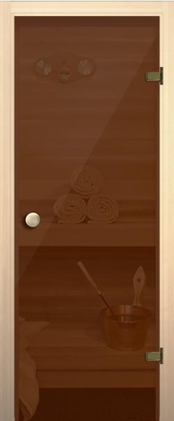 Стеклянная дверь для бани (сауны) Дверь д/сауны бронза прозрачное 690*1890 ручка-кноб R   - Апис плюс
