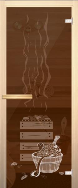 Стеклянная дверь для бани (сауны) Банька д/сауны 690*1890 ручка-магнит R   - Апис плюс